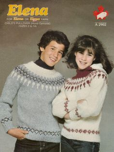 Children Fair Isle Sweater and Hood Vintage Knitting Pattern for Download - Boys and Girls Seven Sizes 2 - 14 years Finished Chest 23 - 33 inches (58 - 84cm)