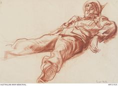 Ivor Hele, Study for Australian troops disembarking at Alexandria after the evacuation of Greece. ART21925