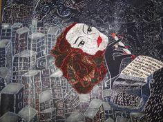 """Clarice voltou pra casa.   Voltou da mostra em que participava em São Paulo Br. """"Mulheres de Outrora, bordados de agora"""" Clarice Lispector de minha autoria"""