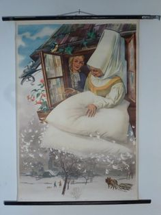 Frau Holle / Mother Hulda shaking out her feather bed and making it snow!