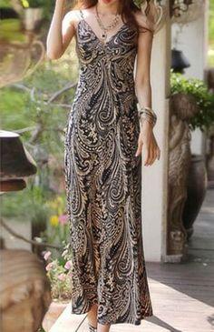 Maxi Backless Print Boho Slip Dress