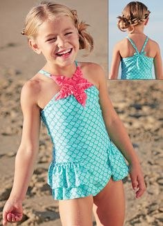 Starfish Swim Suit - Bushel and a Peck Kids - Boutique-style clothing for infants, girls and boys Little Girl Models, Little Girl Fashion, Child Models, Kids Fashion, Cute Young Girl, Cute Little Girls, Kids Swimwear, Swimsuits, Kids Outfits