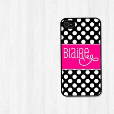 Personalized iPhone 4 Case, iPhone 5 Case, Preppy Black and White Polka Dots with Pink, iPhone Case, Phone Case, iPhone Cover (107). $18.00, via Etsy.