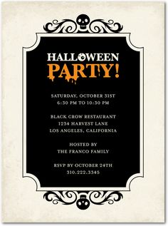 Send spooky Halloween party invitations with this Skeleton Swirls design. Halloween Invitation Wording, Invitation Card Party, Halloween Party Invitations, Unique Invitations, Invites, Invitation Ideas, Shower Invitations, Halloween Fonts, Halloween Dance