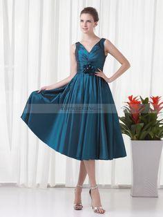 V Neck Taffeta A Line Tea Length Evening Dress with Pleating and Flower