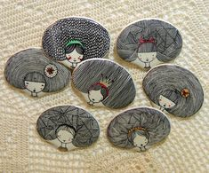 Handmade ceramic brooches