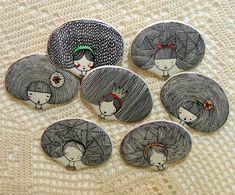 Handmade ceramic brooches
