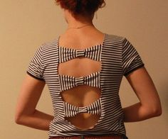 DIY Bow T-Shirt Cutting Design, DIY T-Shirt Cutting Ideas for Girls, http://hative.com/diy-t-shirt-cutting-ideas-for-girls/,