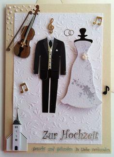"""Hochzeitskarte mit Geige """"Gesucht und gefunden, in Liebe verbunden"""""""