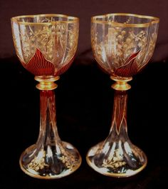 : Pair of Moser Art Nouveau style cranberry and gold cranberry and gold wine glasses