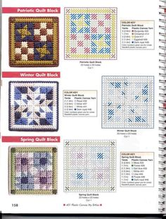Quilt blocks to use to make table mats Plastic Canvas Stitches, Plastic Canvas Coasters, Plastic Canvas Ornaments, Plastic Canvas Tissue Boxes, Plastic Canvas Christmas, Plastic Canvas Crafts, Plastic Canvas Patterns, Plastic Baskets, Gift Baskets