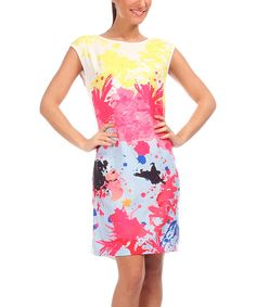 Look at this Yellow & Pink Floral Abstract Shift Dress - Women & Plus on #zulily today!