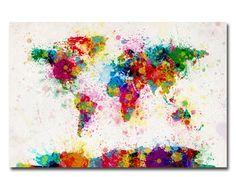 Paint Splashes World Map Canvas