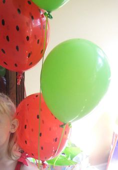 Balloons for a watermelon party. Use a marker for the pips.