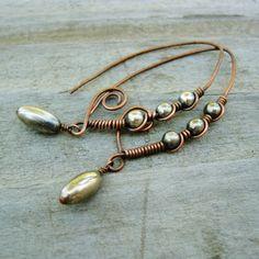 Fun shape: copper wire, silver beads