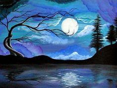 Dark Lake Moon Scene Artwork Print