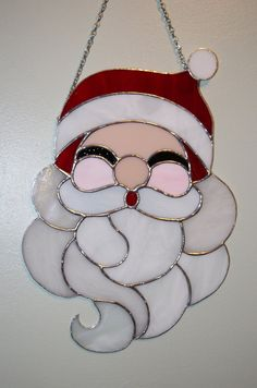 Stained Glass Christmas Santa Claus Panel Suncatcher by Imakeglass, $80.00
