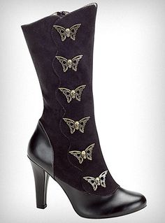 Butterflies in the Belfry Boots   ~ the brass butterfly shaped buttons up the side are ... winged skulls! DO WANT, HUR SO BAD. WANT.