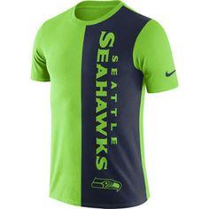 Men's Nike Neon Green/College Navy Seattle Seahawks Coin Flip Tri-Blend T-Shirt