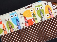 Owl Birthday Party Favors - Owl Crayon Roll STOCKING STUFFER - Toddler Christmas Gift Idea - Crayon Storage, Urban Zoologie. $5.99, via Etsy.