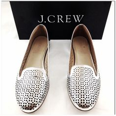 J. Crew Shoes - Host Pick! J. Crew Cleo Silver Leather Flats, 7.5