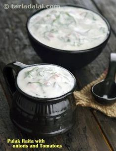 How To Make Palak Raita Spinach Raita Step By Step - Palak Raita Or Spinach Raita Is A Simple Accompaniment To Almost Any Indian Meal It Is Flavorful And Light On The Palette Made Using Yogurt Spinach Leaves And A Tempering Of Curry Leaves Cumin See Raitha Recipes, Indian Food Recipes, Salad Recipes, Dinner Recipes, Cooking Recipes, Ethnic Recipes, Indian Salads, Indian Dishes, Vegetarian Curry