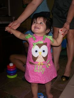 Sweet Owl birthday dress.  Can be paired with a long-sleeved shirt and tights for winter.