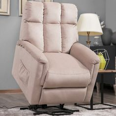 Harper & Bright Designs Power Lift Chair Soft Fabric Recliner Lounge Living Room Sofa with Remote Control (Beige) Lift Recliners, Sofa Chair, Recliner Chairs, Chair Cushions, Dining Chair, Chair Types, Best Sofa, Beige, Living Room Sofa