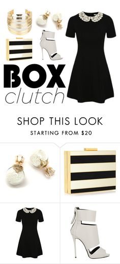 """""""#boxclutch"""" by iameam ❤ liked on Polyvore featuring Valentino, George, Giuseppe Zanotti, WithChic, women's clothing, women's fashion, women, female, woman and misses"""