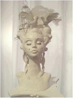 Barock / Rokoko Frisur Skulptur Vogelkäfig