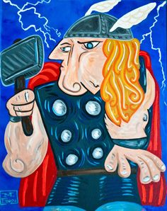 Picasso-inspired superhero facelifts.
