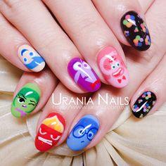So cute inside out nails Dream Nails, Love Nails, How To Do Nails, My Nails, Disney Gel Nails, Disney Inspired Nails, Funky Nails, Trendy Nails, Wonder Nails