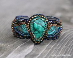 Angel Bead Embroidered Cuff Bracelet with Malachite Cabochon.... Green, Gold and Blue