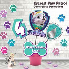 Everest Paw Patrol Birthday Decorations,Everest Large Centerpiece,Skye Paw Patrol Invitation,Paw Patrol Invitation,Skye Party Supplies by OhhLaLaTresChic on Etsy