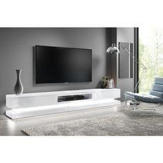 Buy Extra Large White Gloss TV Stand with LEDs- TV's up to - Evoque from Appliances Direct - the UK's leading online appliance specialist White Gloss Tv Unit, White Tv Unit, Large Tv Stands, White Tv Stands, Tv Table Stand, Tv Stand With Led Lights, Tv Wall Decor, Tv Wall Design, Living Room Tv