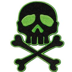 Skull Cross Bones Green Patch