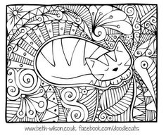 Doodle Cat Coloring Page by Beth Wilson Cat Coloring Page, Doodle Coloring, Animal Coloring Pages, Mandala Coloring, Coloring Book Pages, Coloring Pages For Kids, Coloring Sheets, Doodle Patterns, Zentangle Patterns