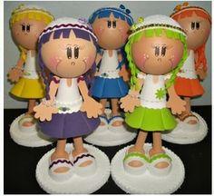 Mini Bonecas fofuchas de EVA molde grátis