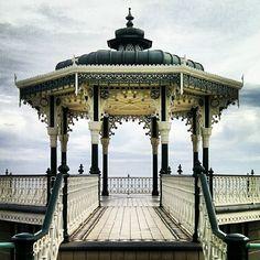 Brighton, Gazebo, England, Outdoor Structures, Unique, Green, Kiosk, Pavilion, Cabana