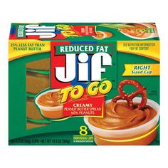 "http://worldgrocerystoreandmore.ecrater.com/p/14226457/  Jif REDUCED FAT ""To Go"" Creamy Peanut Butter 8 - 1.7 oz (48g) Cups   Right sized cup. Great for dipping 25% less fat than peanut butter."