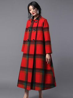 Buy High-End Stand Collar Plaid Coat Woolen Plus Size Tweed Coat in Coats online shop, Morimiss offers Coats to make you feel comfortable Wool Overcoat, Tweed Coat, Plaid Coat, Mode Mantel, Long Wool Coat, Coats For Women, Ladies Coats, Korean Outfits, Modest Fashion