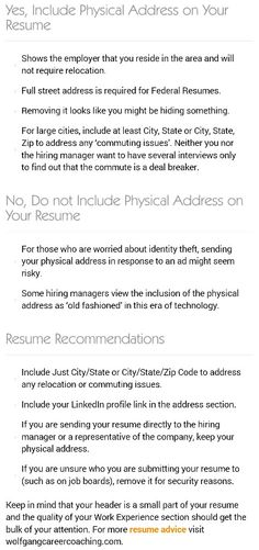 arguments for removing physical address from resume cover lettersresume