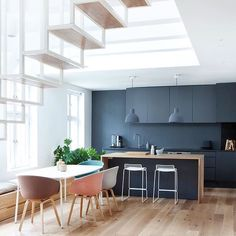 STAIRWAY TO HEAVEN  Loving everything about this space especially the timber bench top which completely breaks up the moody kitchen hues and adds a dose of FRESH!  . . . . . Image source unknown #homeinspo #homeinspiration #kitchenrenovation #stairwaytoheaven #darkkitchen #homeinspo #homedecor #homestyling #interiordesign #interiorstylist #interiordesignermelbourne #laurensilvariastylist #mylittleempire #lottsainspo #kitcheninsporation