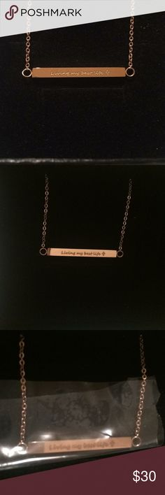 Rose gold NWT inspirational dainty simple elegant Rose gold. Brand new. Living my best life cross. Jewelry Necklaces