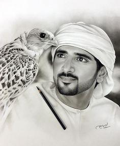 "1,971 Likes, 49 Comments - Aymanarts (@aymanarts) on Instagram: ""الشيخ حمدان بن محمد بن راشد ال مكتوم. Charcoal on paper"""