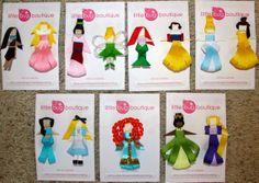 SET of 13 Disney Princess Hair Clips Bows--save 11 dollars off individual price- NEW Merida JUST added to make it a 13 princess set