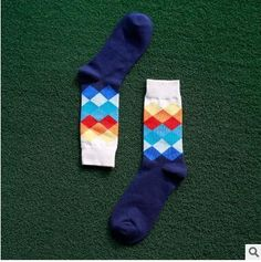 10 color choices of Men's British Style Plaid calcetines Gradient Color socks