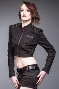 Queen of Darkness - Gothic Jeans Kurzjacke im Bolero Look mit Nieten