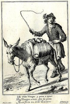 Selling vinegar and Donkey. etching. England 1688, Cries of London. BM by tony harrison, via Flickr