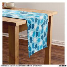 Hanukkah Chanukah Driedel Pattern Short Table Runner